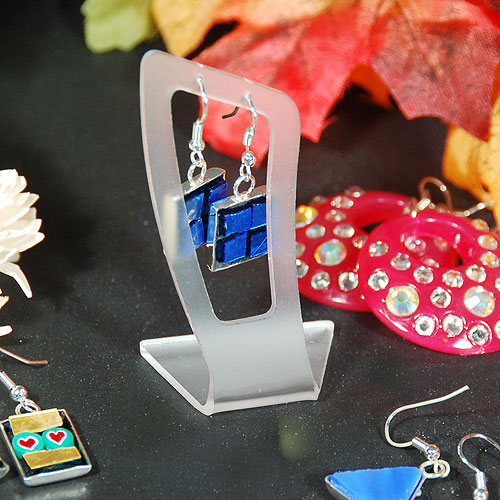 Single Pair Angled Earring Display- Frosty Acrylic- 1 1/8