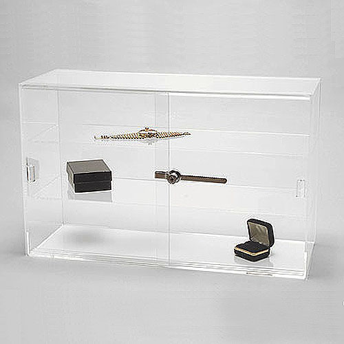 Acrylic Countertop Showcase- Rectangle- Stationary- Two Shelves- 21 1/4