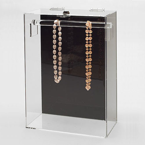 Acrylic Countertop Showcase for Necklaces- Bar at Top- Stationary- 10 1/4