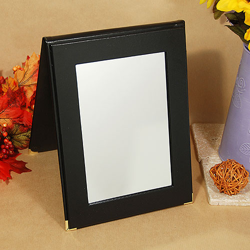 Folding Mirror- Black Leatherette Border- Distortion Free Glass- 7 1/4