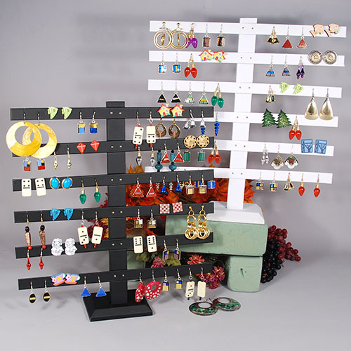 "Earring Stand- 6 Bar- Holds 24 Pairs- 14"" x 2 3/4"" x 14 3/4""H"