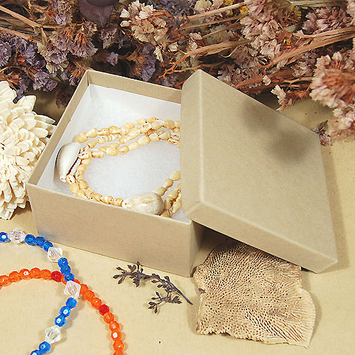 Natural Kraft Jewelry Boxes With Cotton 100Carton