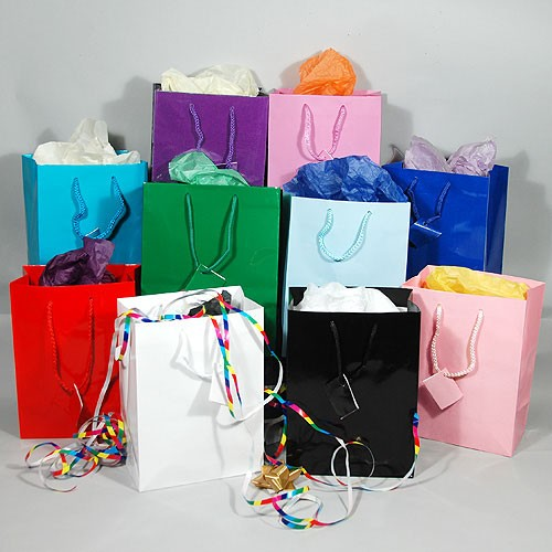 Gift Bags- Glossy- Solid Colors- Medium- 7