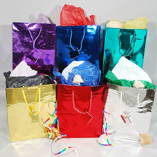 "Foil Gift Bags- Medium- 8"" x 4 1/2"" x 10""- Price is Per Dozen"