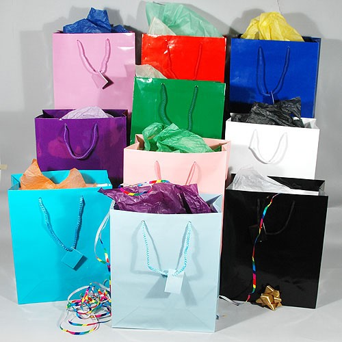 "Gift Bags- Glossy- Solid Colors- Large- 10 1/2"" x 5 1/2"" x 13""- Price is Per Dozen"