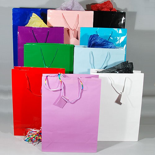 "Gift Bags- Glossy- Solid Colors- Extra Large- 13"" x 4"" x 18""- Price is Per Dozen"