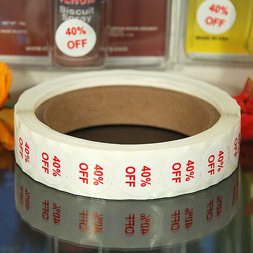 """40% Off"" Label- 3/4"" Round- Red Print- 1,000/Roll"