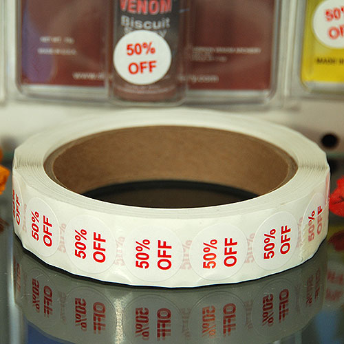 """50% Off"" Label- 3/4"" Round- Red Print- 1,000/Roll"