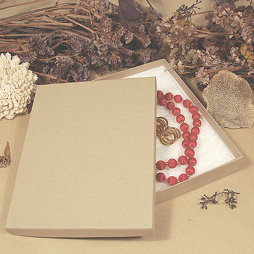 Natural Kraft Jewelry Boxes Large Sizes With Cotton 50Carton