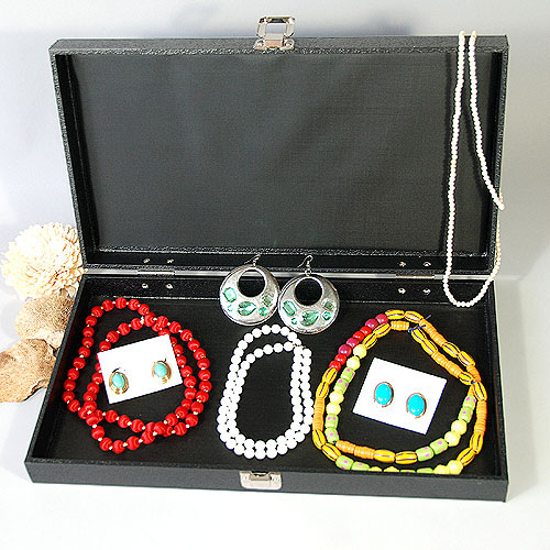 "Jewelry Case- 14 3/4"" x 8 1/4"" x 2 1/8""H- Standard Size- Textured"