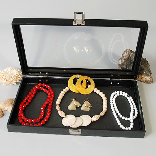 Clear See-Thru Top Jewelry Case- 14 3/4