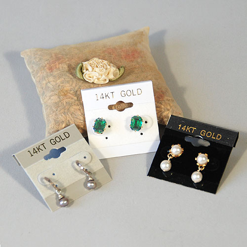 "Earring Cards- 1 1/2"" x 1 1/2""- ""14 Kt Gold""- Price Per 100"
