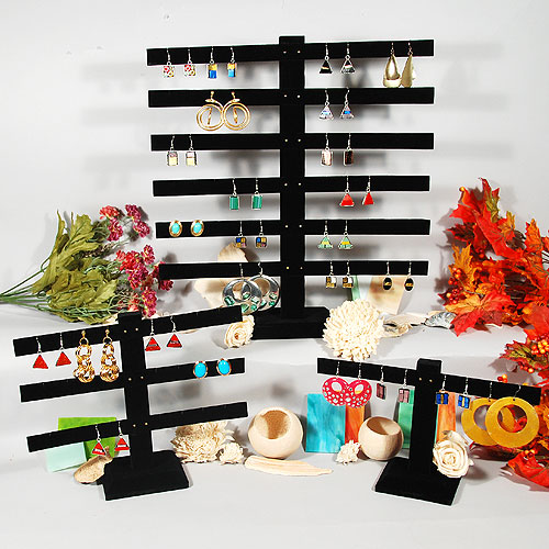 Black Velvet Earring Display Stand Jewelry Displays Holder Stand Black Velvet 6
