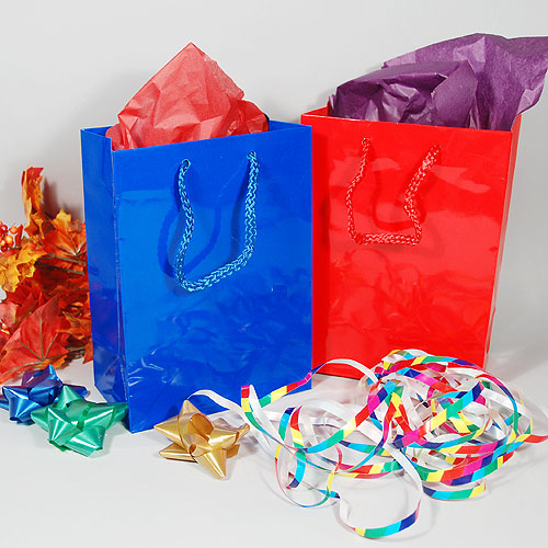 "Laminated Gift Bags- 6.25"" x 3.5"" x 8.5""- 1st Quality"