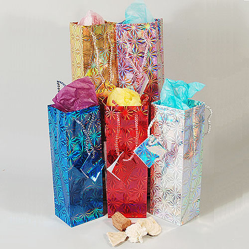 "Hologram Gift Bags- Assorted Colors- 3"" x 2 3/8"" x 9""H- Price Per Dozen"