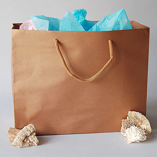 "Kraft Gift Tote Bags- Matte Laminated- 9"" x 4"" x 7""H- Price is Per Pack of 10 Bags"