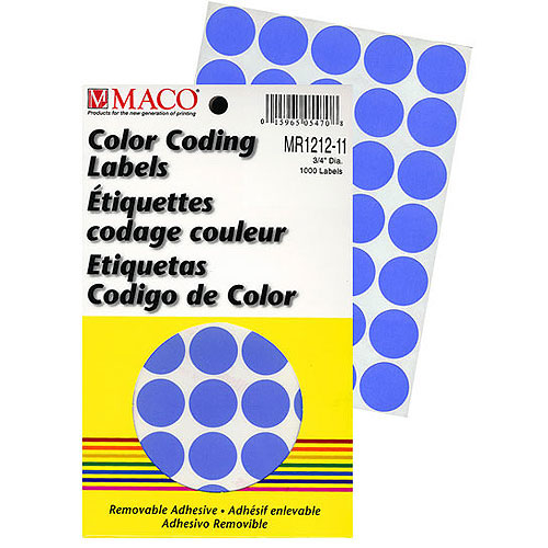 "Labels- Colors 3/4"" Round- Color Coding- 1,000/pack"