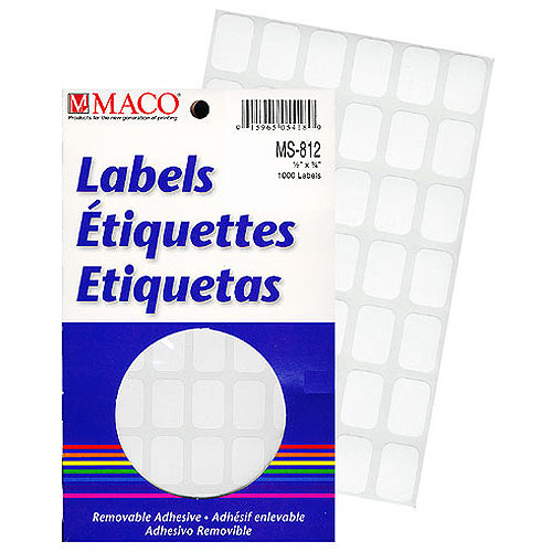 "Rectangle Labels- 1/2"" x 3/4""- White- 1000/pack"