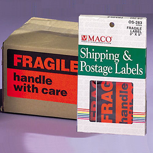 "Fragile Labels- 3"" x 5""- 40/pack"