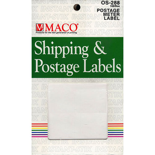 Postage Meter Labels- Permanent Adhesive, 4 Labels Per Sheet- 3 5/8