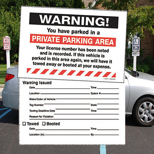 "Removable Parking Violation Labels- Warning Private Parking- 8"" x 5""- 50/pack"