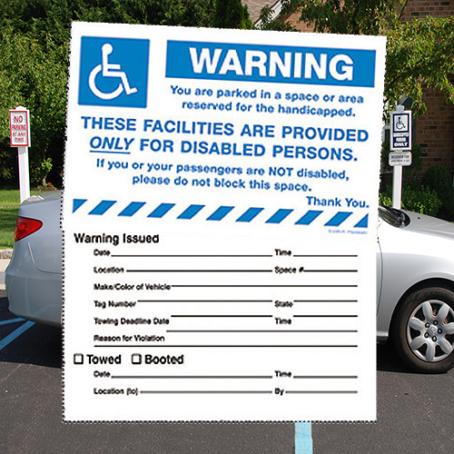 "Parking Violation Stickers- Removable- Warning Handicap Reserve Area- 8"" x 5""- 50/pack"