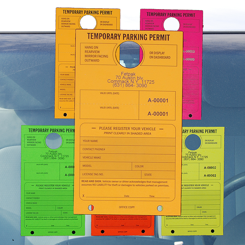 Temporary Parking Permit in Fluorescent Colors- 50/Pack