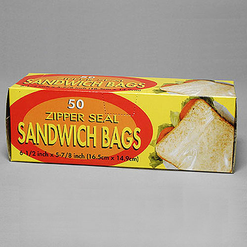 "Resealable Sandwich Bags- Zip Seal- 6 1/2"" x 5 7/8""- 1.2 Mil- 50/Box- Price Per Box"