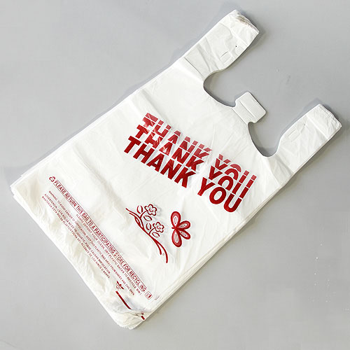 "12"" x 6 1/2"" x 21"" T-Shirt Bags- 13 mic. Printed Thank You- 1,000/cs- Fits Our Bag Rack"