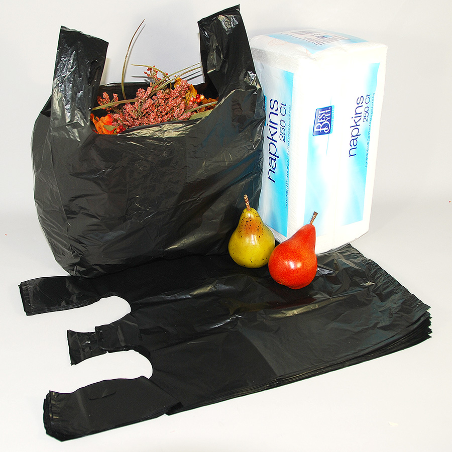 "T-Shirt Bags- 12"" x 6 1/2"" x 22 1/2""- Heavy 16 Microns- Made With Recycled Materials- 500/case"